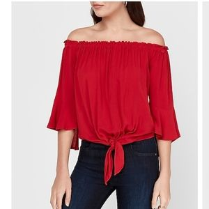 EXPRESS red off the shoulder top. Tie front size M
